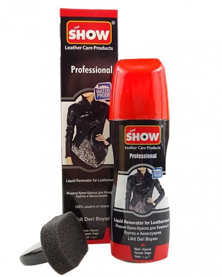 Czarny, płynny środek do odnawiania odzieży skórzanej, Show