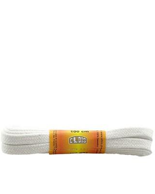 Białe sznurówki do butów, bawełniane, płaskie, 120 cm, Elbis