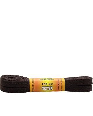 Ciemnobrązowe sznurówki do butów, płaskie, 120 cm, Elbis