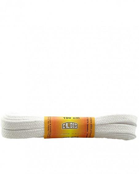 Białe, płaskie sznurówki do butów, 150 cm, Elbis