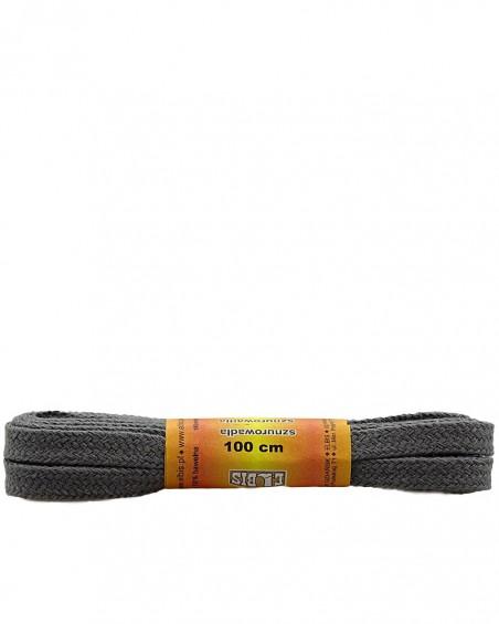 Ciemnoszare, płaskie sznurówki do butów, 150 cm, Elbis