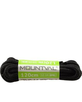 Czarne, trekkingowe sznurówki do butów, 150 cm, Mountval