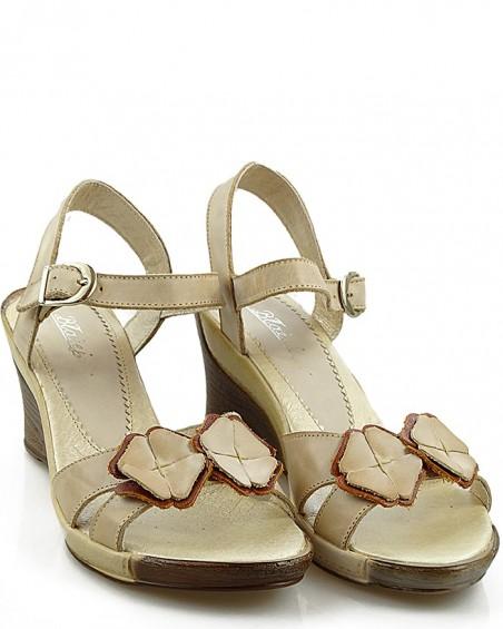 Sandały damskie na koturnie, skórzane, beżowe, Błażej