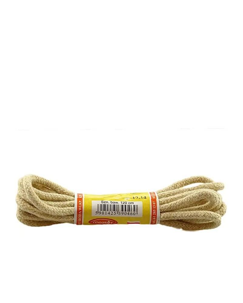 Jasnobeżowe, okrągłe grube, sznurówki do butów, 90 cm, Mazbit