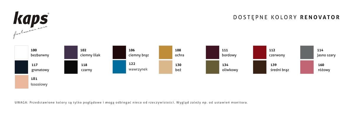 Tabela kolorów renowator do zamszu kaps