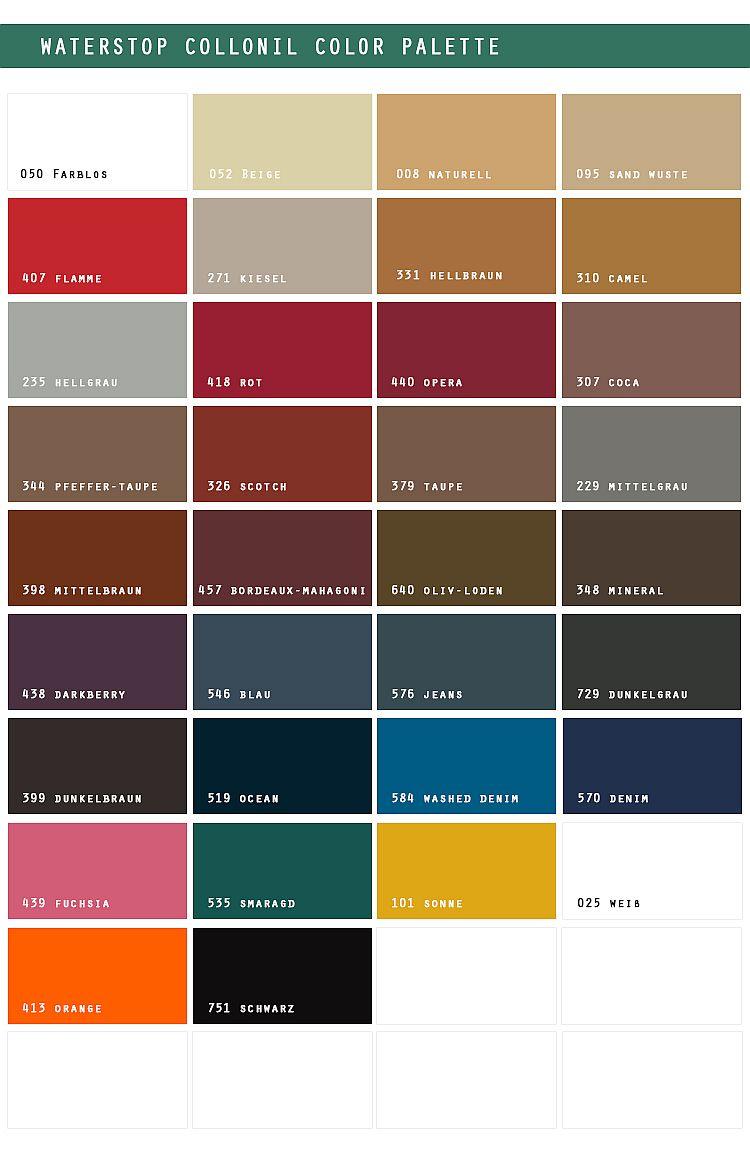 Paleta kolorów Collonil Waterstop