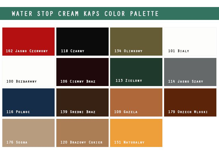 Paleta kolorów Waterstop Kaps